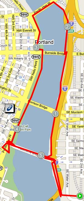 racemap of downtown portland 5k