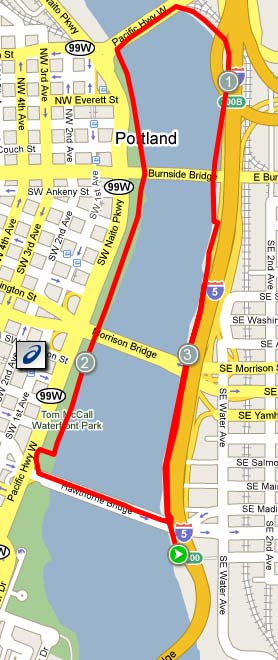 5K route on the Portland Waterfront
